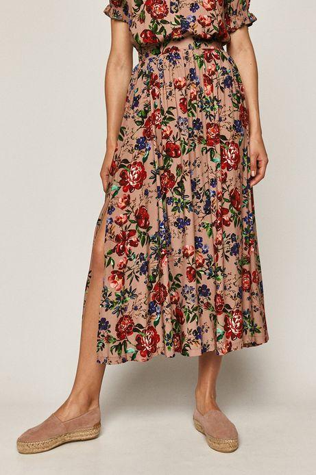 Spódnica damska w kwiatki różowa