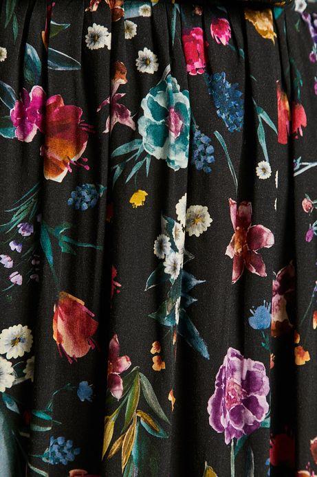 Spódnica damska w kwiatki czarna