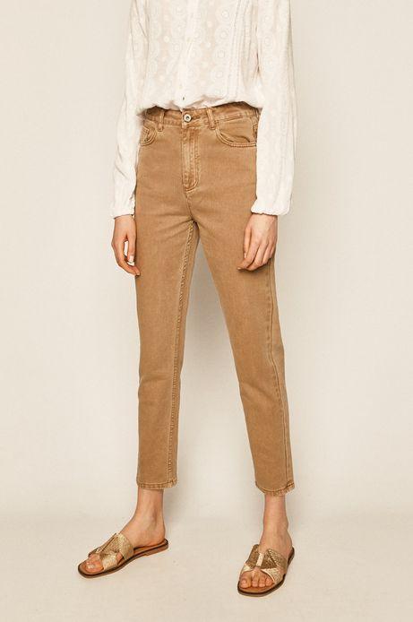 Jeansy damskie mom fit beżowe