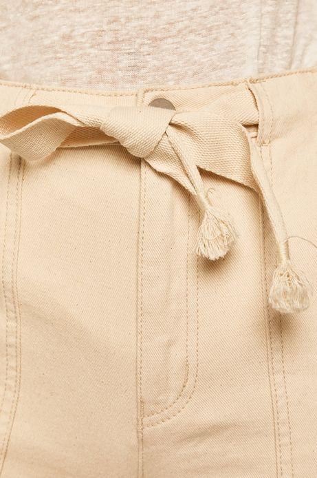 Jeansy damskie culotte kremowe