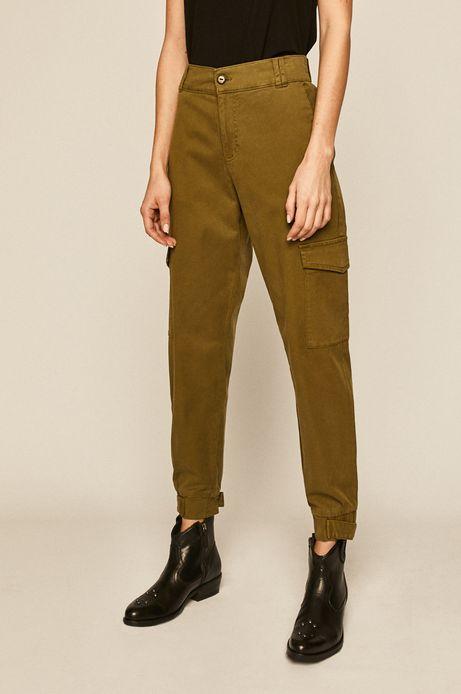 Spodnie damskie z kieszeniami cargo zielone