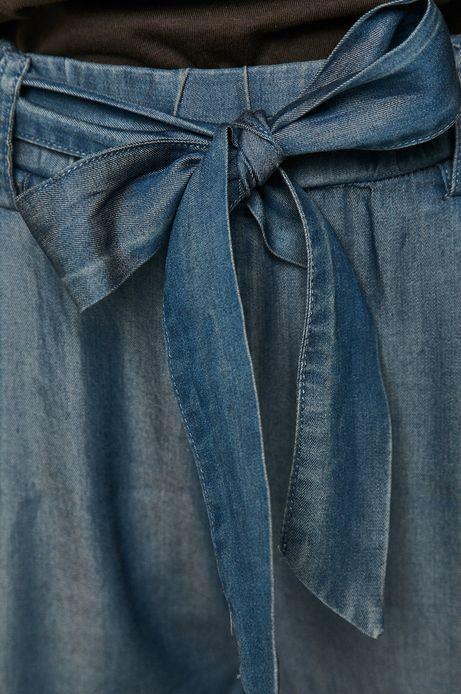 Spodnie damskie wiązane w talii niebieskie