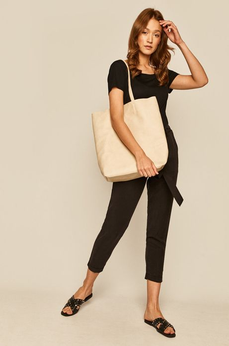 Spodnie damskie wiązane w talii czarne