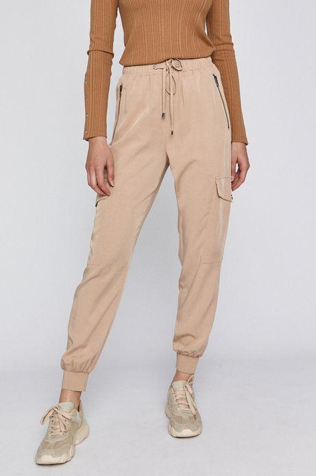 Spodnie damskie joggery z kieszeniami beżowe