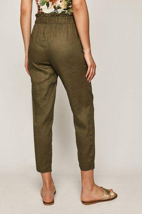 Spodnie damskie lniane zielone