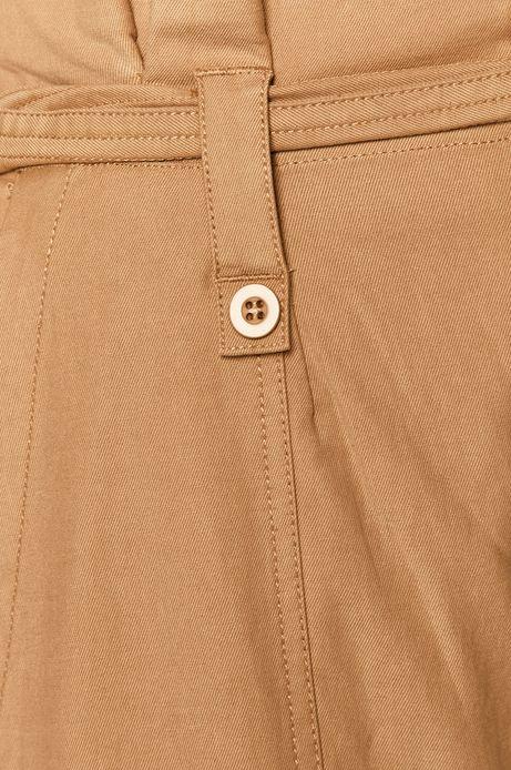 Spodnie damskie  damskie z podwyższonym stanem beżowe