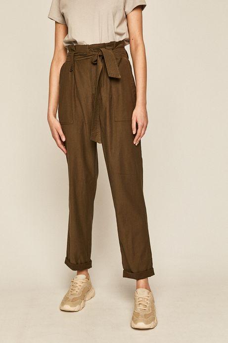 Spodnie damskie  damskie z podwyższonym stanem zielone
