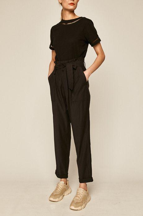 Spodnie damskie  damskie z podwyższonym stanem czarne