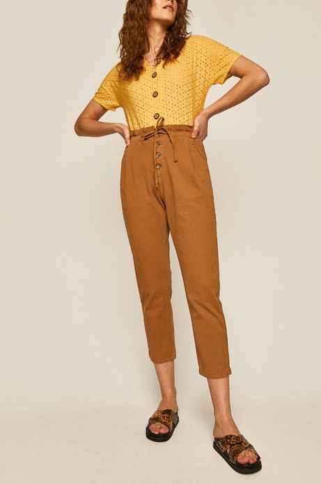 Spodnie damskie carrot brązowe