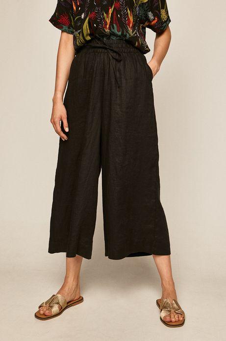 Spodnie damskie lniane czarne