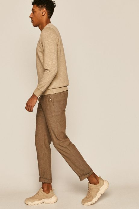 Spodnie męskie lniane brązowe
