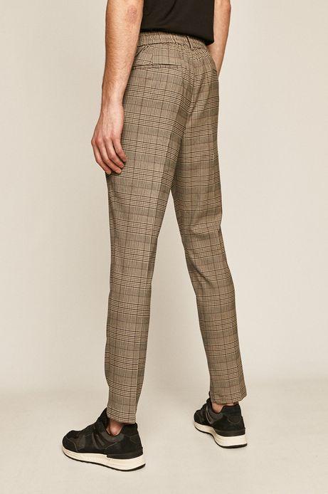 Spodnie męskie w kratkę brązowe