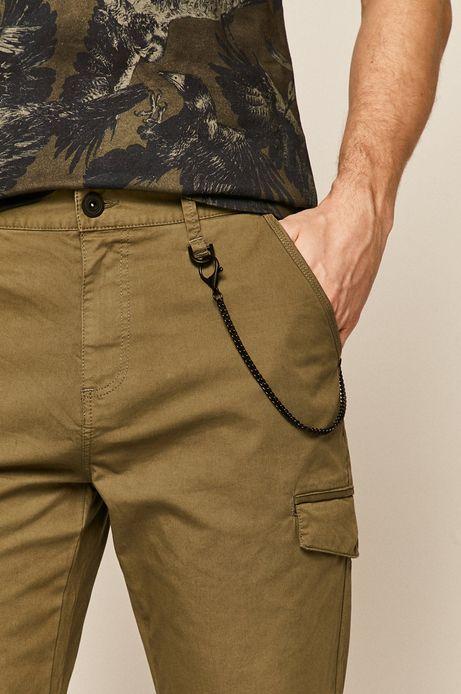 Spodnie męskie z kieszeniami cargo zielone
