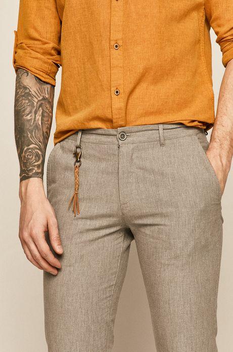 Spodnie męskie z domieszką lnu szare