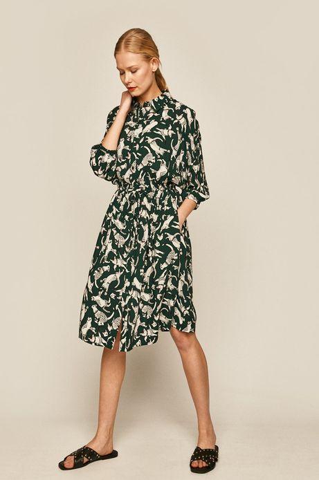 Sukienka damska w koty zielona
