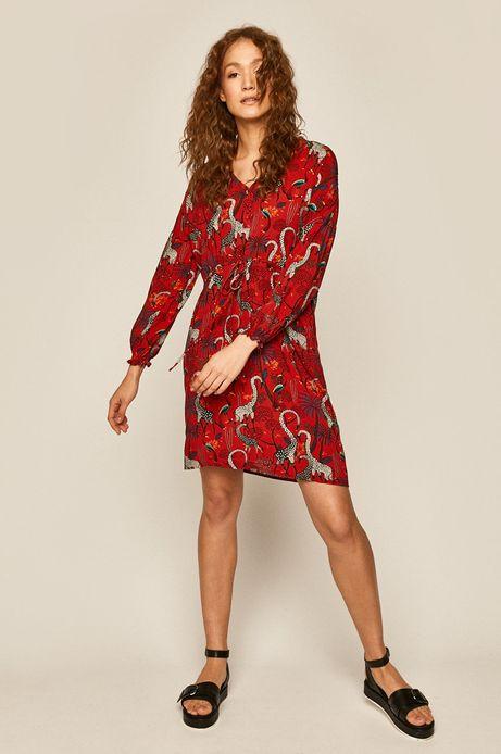 Sukienka damska wzorzysta czerwona