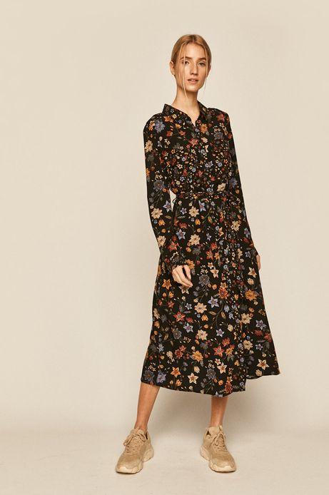 Sukienka damska wiązana w talii czarna