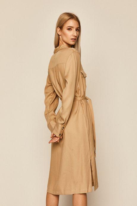 Sukienka damska z kołnierzykiem beżowa