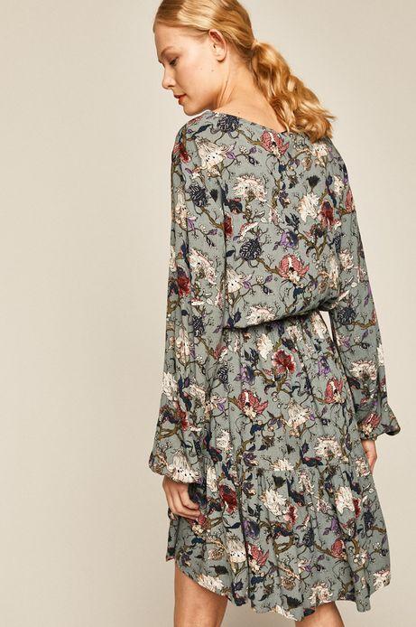 Sukienka damska rozkloszowana turkusowa