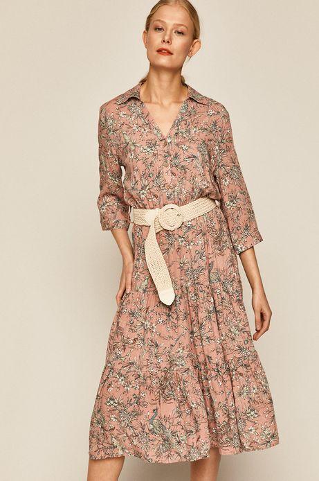 Sukienka damska wzorzysta różowa