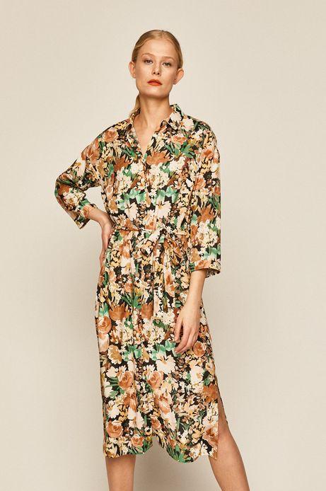 Sukienka damska wiązana w talii w kwiaty