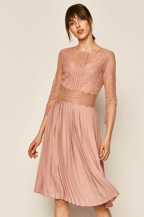 Sukienka damska z koronkowym wykończeniem różowa