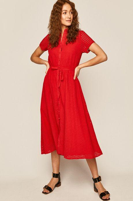 Sukienka damska ażurowa czerwona