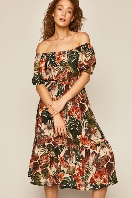 Sukienka damska rozkloszowana wzorzysta
