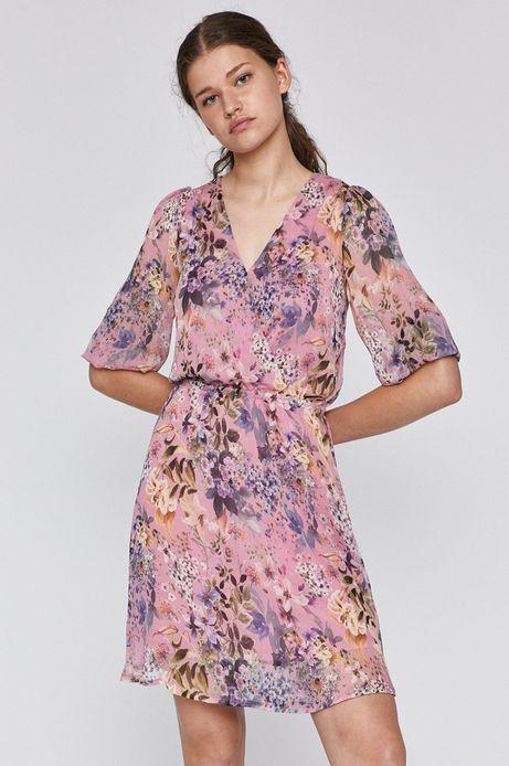 Sukienka damska z zakładanym dekoltem różowa