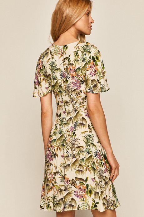 Wzorzysta sukienka damska z falbankami beżowa