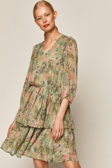 Sukienka damska z falbanką zielona
