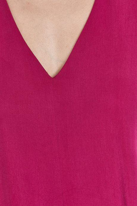 Sukienka damska ze spiczastym dekoltem różowa