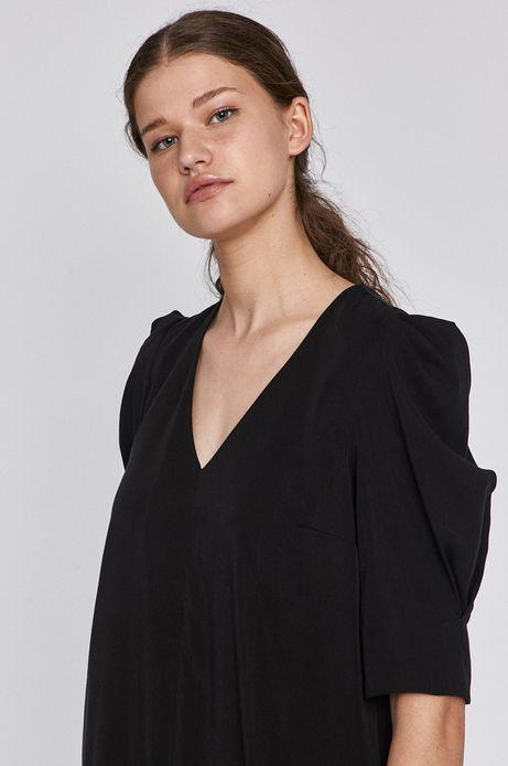 Sukienka damska ze spiczastym dekoltem czarna