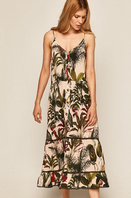 Wzorzysta sukienka damska na ramiączkach różowa