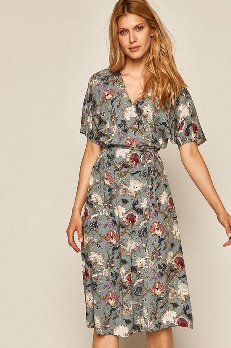 Sukienka damska z zakładanym dekoltem turkusowa