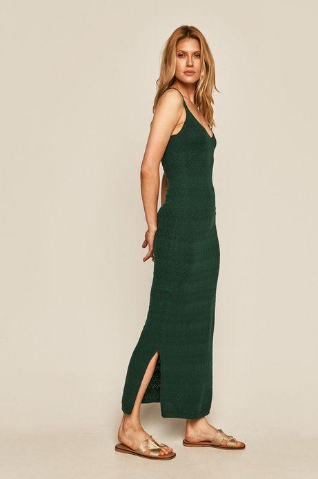 Długa sukienka damska z rozcięciem zielona