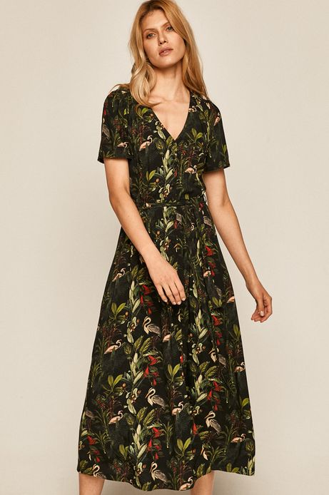 Sukienka damska wiązana w talli czarna