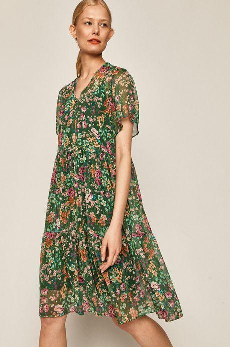 Sukienka damska w kwiaty zielona