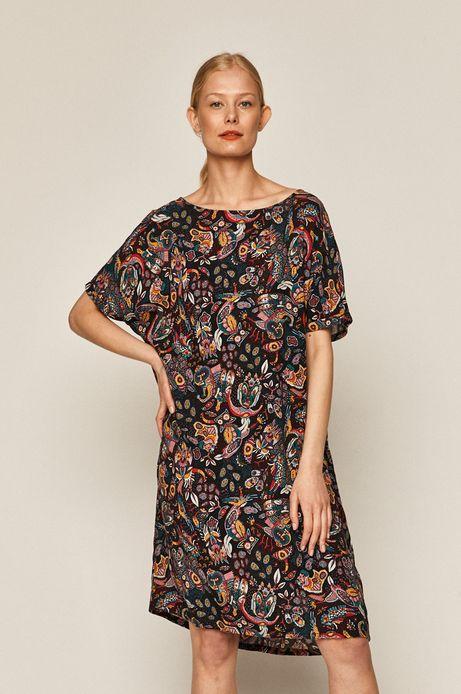 Sukienka damska z domieszką lnu wzorzysta