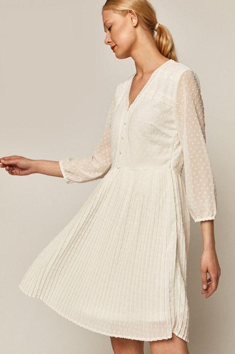 Sukienka damska z tkaniny plumeti biała