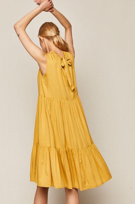 Sukienka damska z falbanką żółta