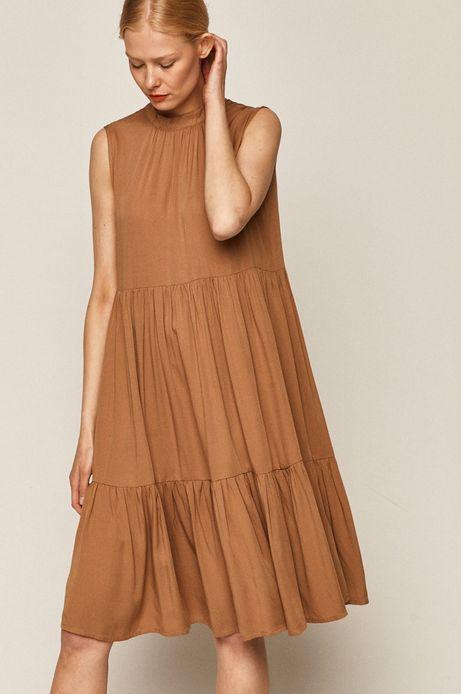 Sukienka damska z falbanką beżowa