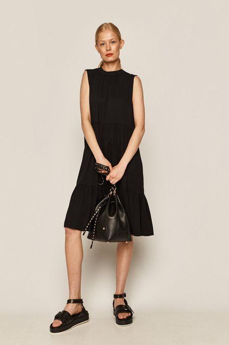 Sukienka damska z falbanką czarna
