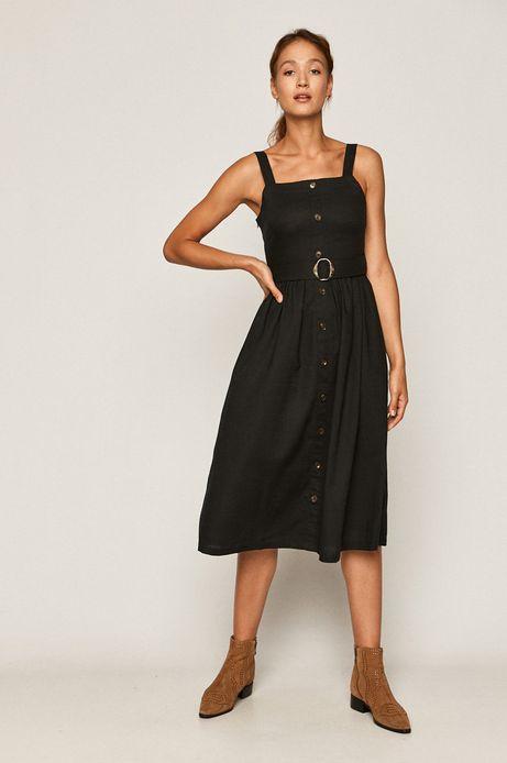 Sukienka damska z domieszką lnu czarna