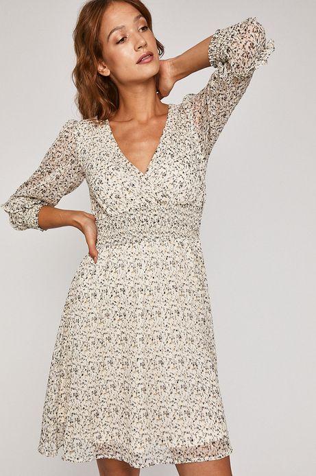 Sukienka damska z marszczeniami biała