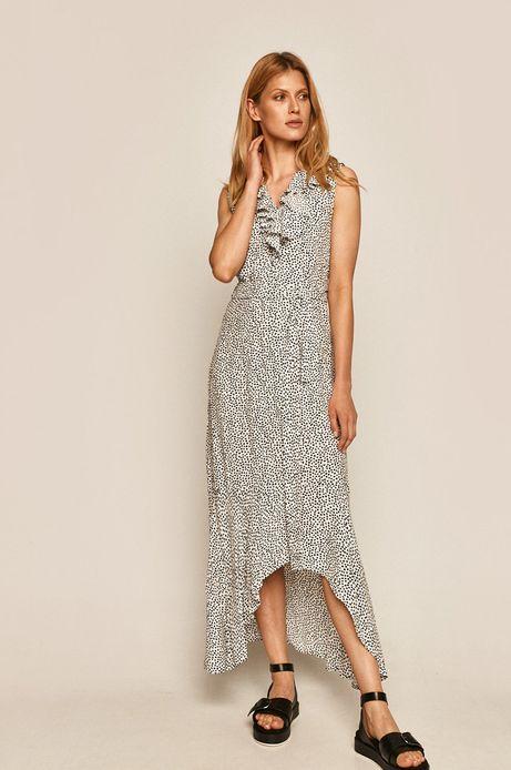 Sukienka damska z falbanką biała