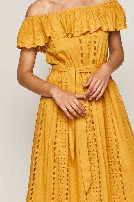 Sukienka damska z odkrytymi ramionami żółta