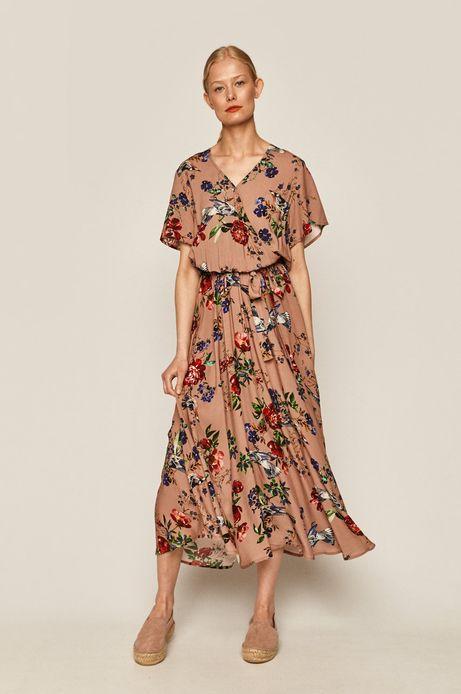 Sukienka damska w kwiaty różowa