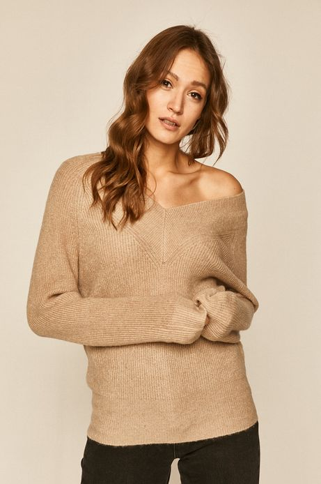 Sweter damski z dekoltem w serek beżowy