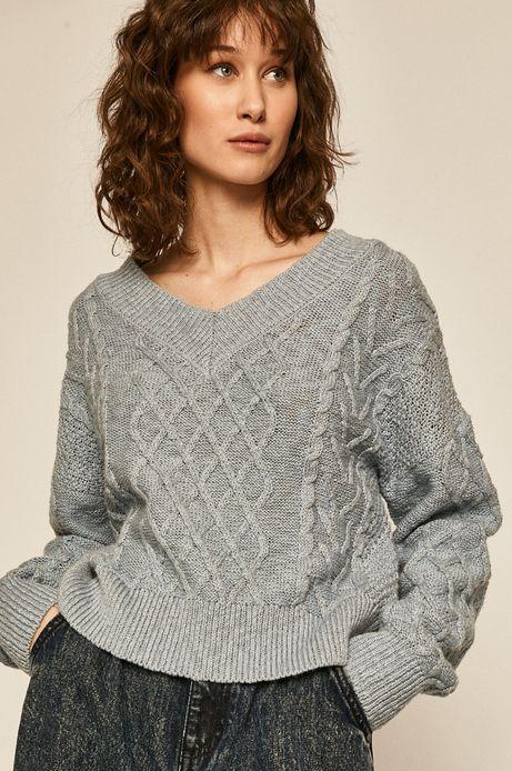 Sweter damski ze splotem niebieski